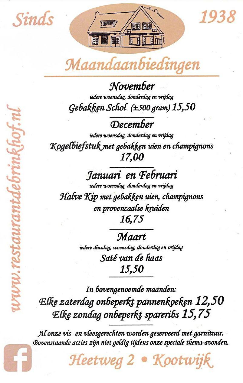 Brinkhof menu